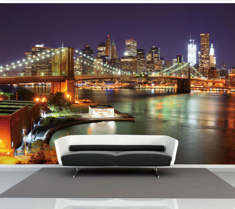 New York Bridge Scenic Large Threedimensional Mural 3d