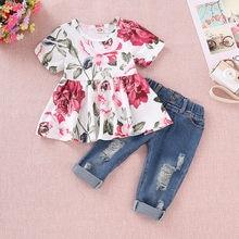 9a45e7741 Ropa de los niños de moda conjunto de verano niños bebé niñas Tops vestido  + Denim agujero pantalones vaqueros trajes traje para.