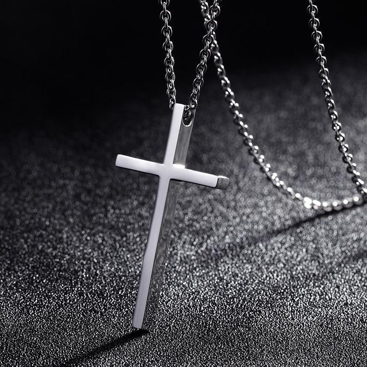 Titanium Steel Cross Pendant Necklace For Men Women Minimalist Jewelry Male Female Prayer Necklaces Chokers Silver Color Gift