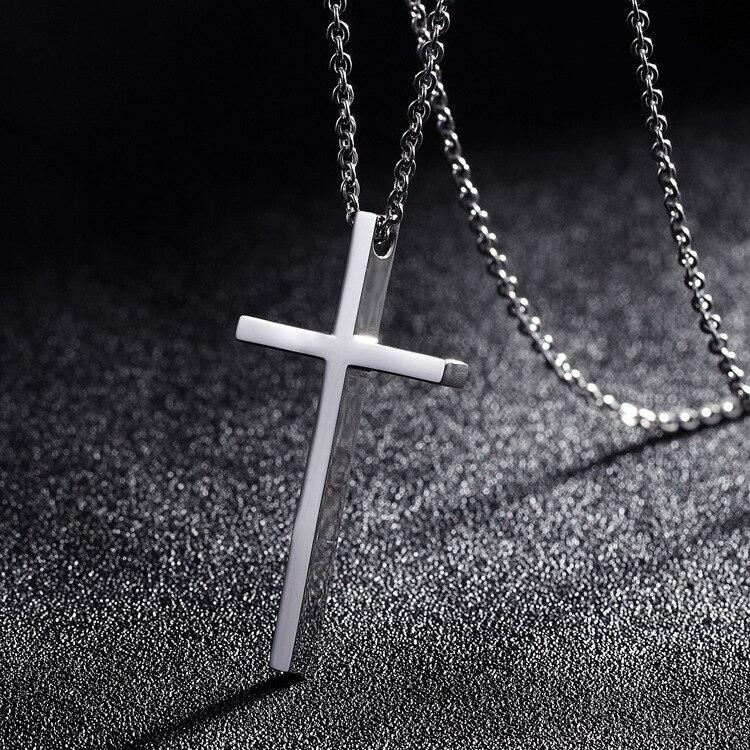 Titanium Steel Cross Pendant Necklace for Men Women Minimalist Jewelry Male Female Prayer Necklaces Chokers Silver Color Gift metalowe skrzydła dekoracyjne na ścianę