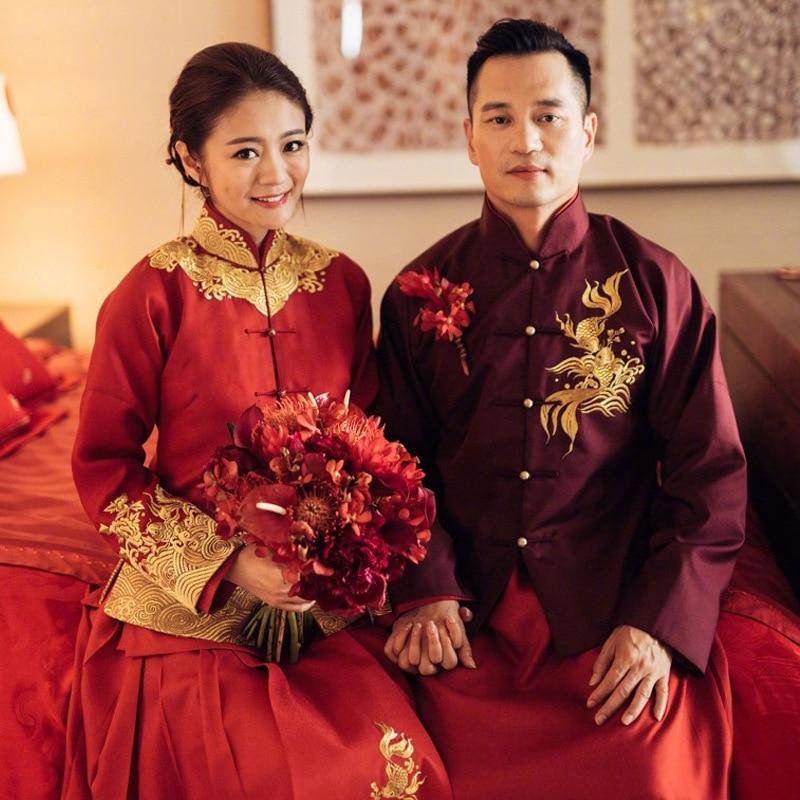 Traditional Chinese Embroidery Cheongsam Men Dragon Phoenix Clothing 2017 New Wedding Dress Uomo Vestidos Formales Qipao Top