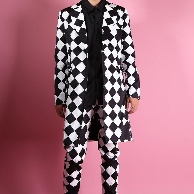 Custom Made Men Suits Sets (jacket+pant) Long Casual Suit Jacket Male Fashion Slim Fit Blazers Coat Singer Dancer Stage Clothing