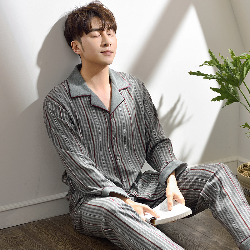 Spring Geometric Patterns Pajamas Sets Mens Pijamas Hombre Lounge Wear Comfortable Knited Cotton Male Sleepwear Homewear Men 3XL