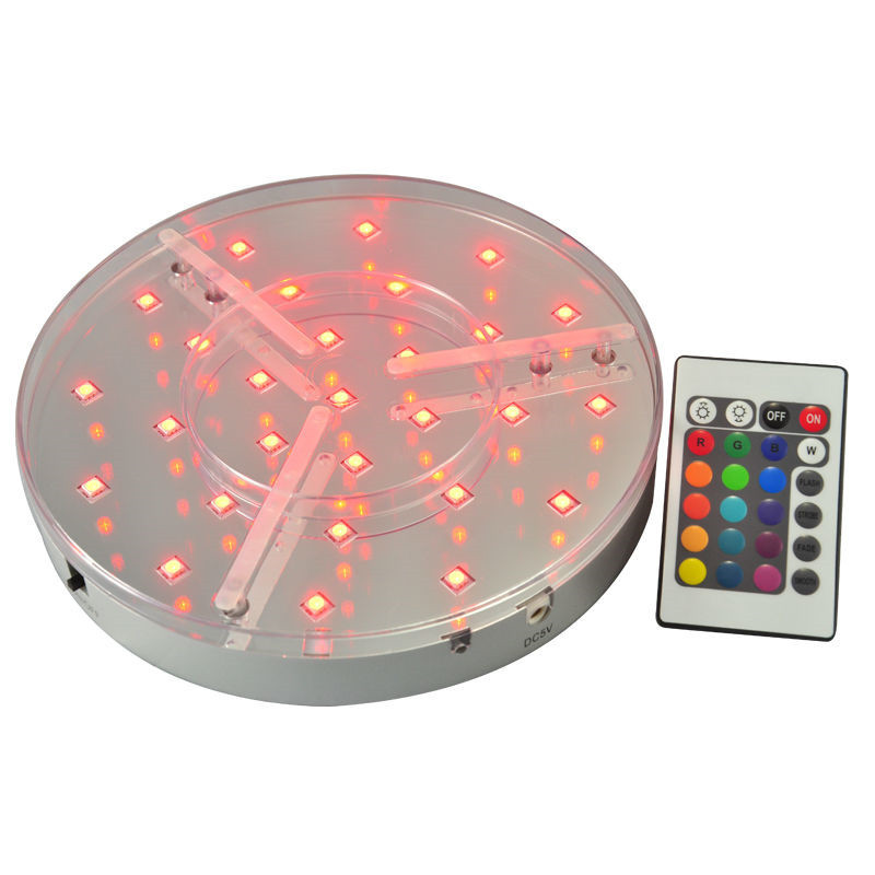 ( 1piece/ Lot ) Wedding Centerpiece Lighting 20CM Diameter Rechargeable Lithium Battery LED Under Vase Base Light With Remote