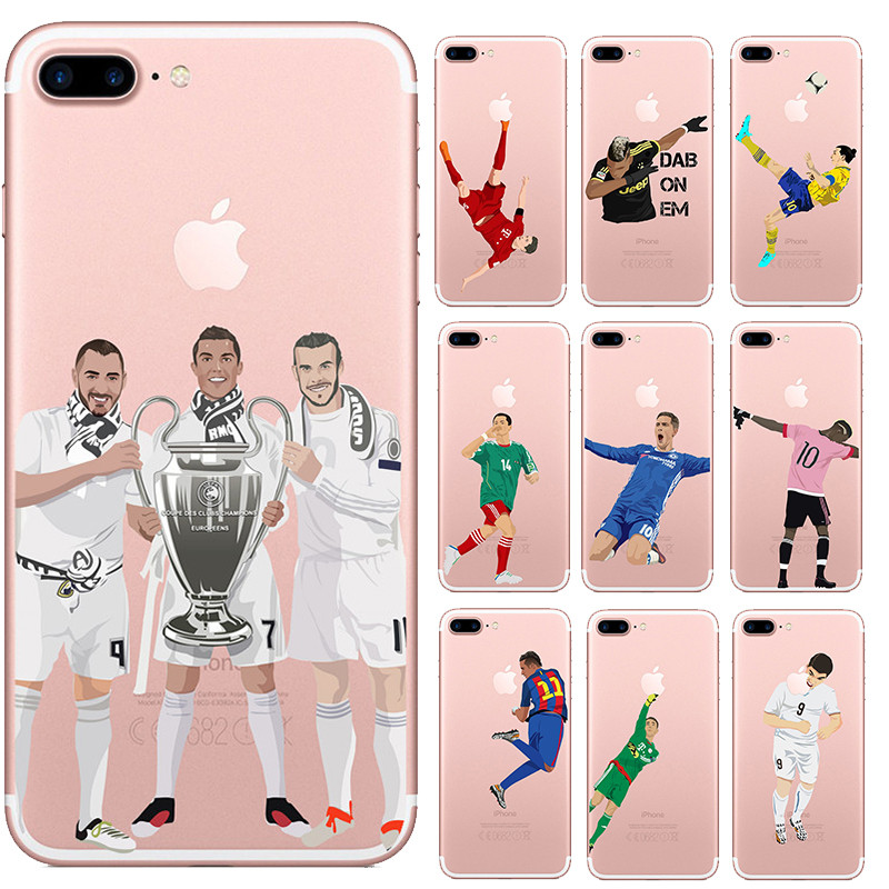 Cartoon Football Soccer Stars Soft Clear Silicone Phone Cases for Iphone X 10 8 7 6 6S Plus SE 5S Capinha Back Cover Capa Case