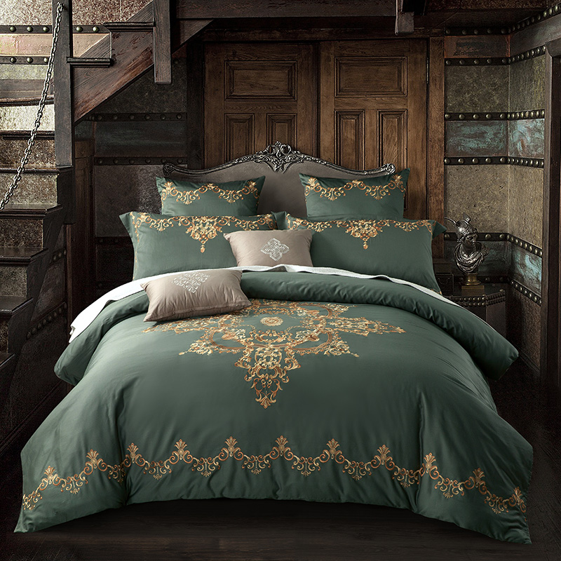 Egyptian Cotton Luxury Royal Bedding Set 4 6Pcs King Queen Size Bed cover Tribute silk Bed