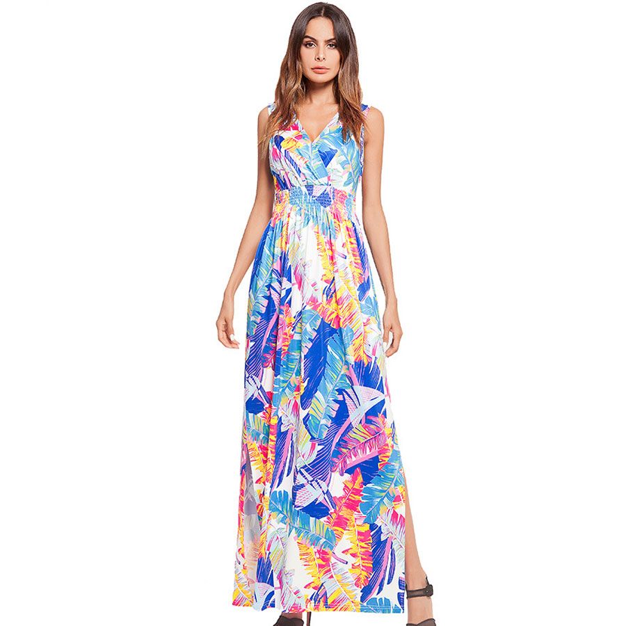 2018 Fashion summer dress for women Sleeveless V collar dress female vinage floral print Long Maxi dress Vestidos plus size