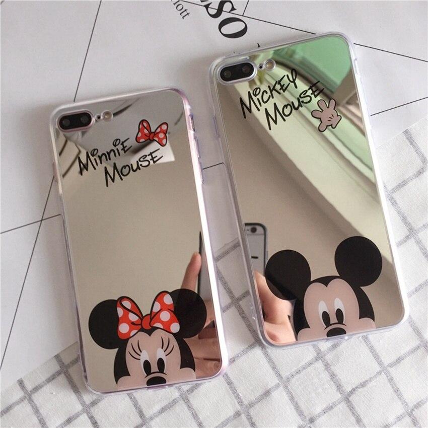 Mirror Cartoon Mickey Minnie Cases For iPhone 7 6S 5S Case Plating Soft Gel Phone Cases For iPhone SE 6/7Plus Cover Coque Fundas