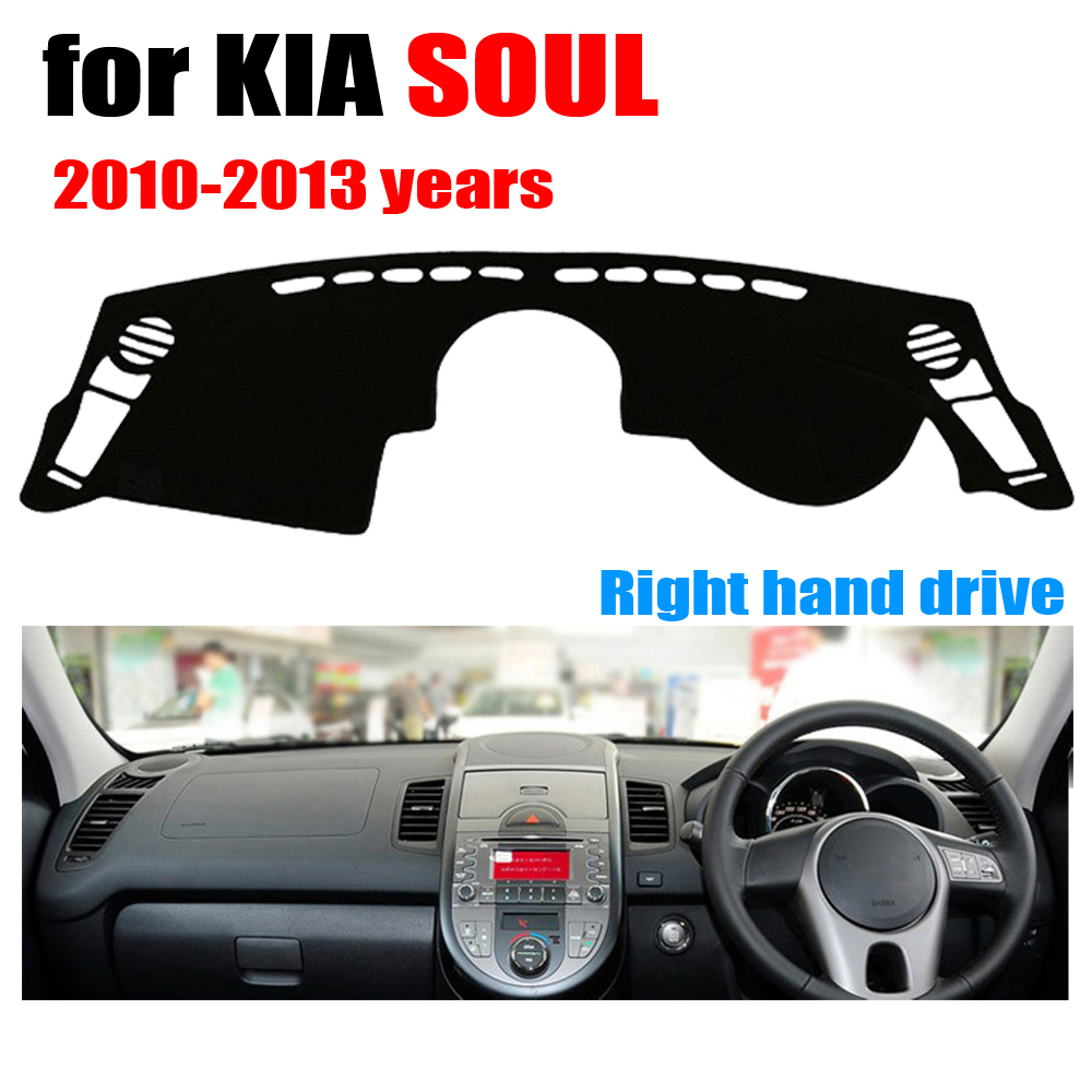 RKAC Car dashboard cover mat for KIA SOUL 2010 2013 years Right hand drive dashmat pad dash covers auto dashboard accessories