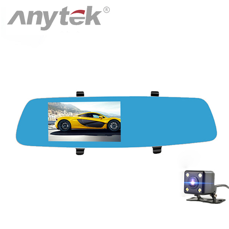 Anytek T10 Car Video Recorder Dual Lens Car DVR Mirror Rearview Camera 1080P Full HD Dashcam 5 inch LCD Screen Camera DVRS bigbigroad for vw tiguan routan car dvr blue screen dual lens rearview mirror video recorder 5 inch car black box night vision