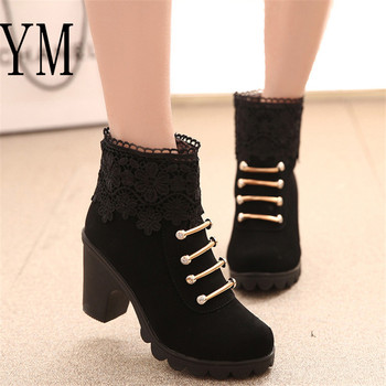 Hot Women PU Pattern Ankle Boots shoes Sexy Lace Cuff Thick Heel Women Boots Fall Winter Fashion Black Martin Women Shoes mujer 1