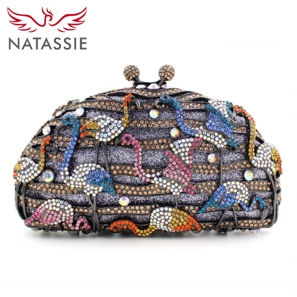 NATASSIE Red-crowned Crane Pattern Evening Clutch Bag With Shine Diamonds Attractive Lady Dinner Party Clutch Purse L1014  iron crowned