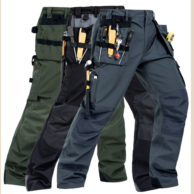 2018 Working Pants Multi-Pockets Wear-Resistant Worker Mechanic Cargo Pants Work Wear Trousers High Quality Machine Repair Pants