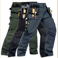 2018 Working Pants Multi Pockets Wear Resistant Worker Mechanic Cargo Pants Work Wear Trousers High Quality