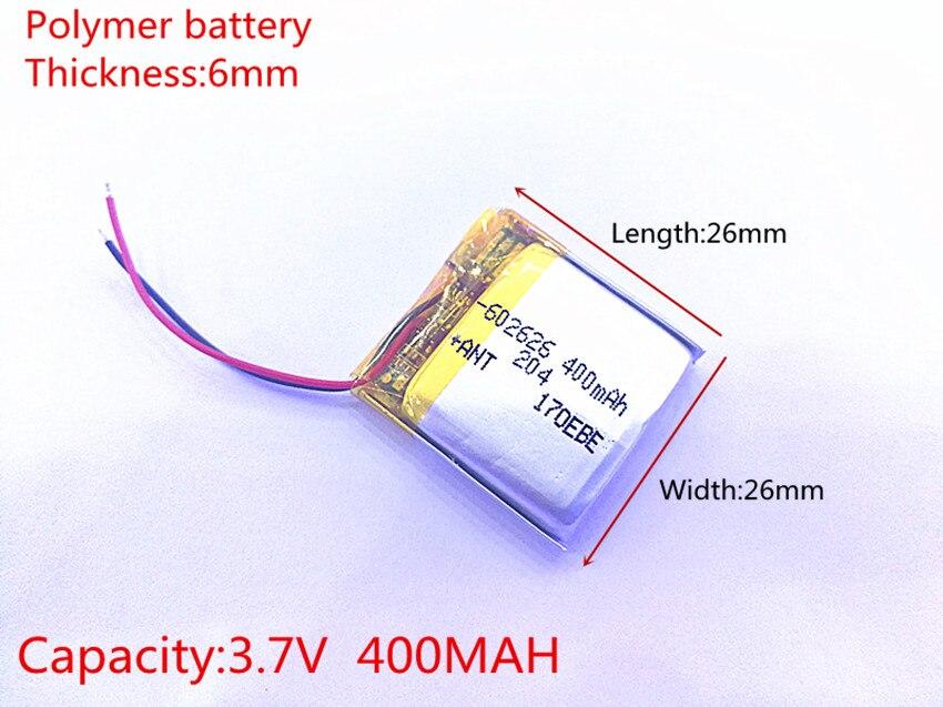 Бесплатная доставка 3,7 в 400 мАч 602525 602626 плиб полимерный литий-ионный/литий-ионный аккумулятор для смарт-часов gps