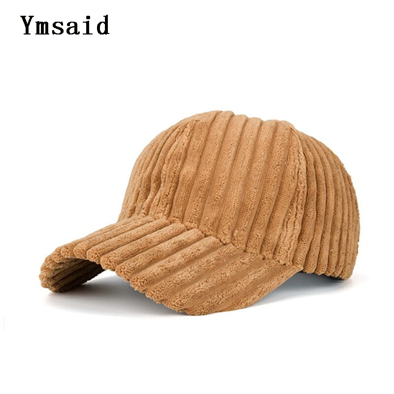 Ymsaid 2019 New Unisex Couple Solid Color Corduroy Winter Warm Baseball Cap Կարգավորելի Նորաձևություն Պատահական Snapback Cap