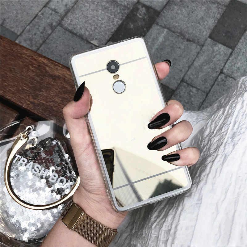 Caso espelho de luxo para xiaomi redmi a1 s2 3 s nota 3 4 4x 4a 5 5S 5x plus 5a 6 6a 6x pro mix max 2 8 8se rosa ouro claro capa