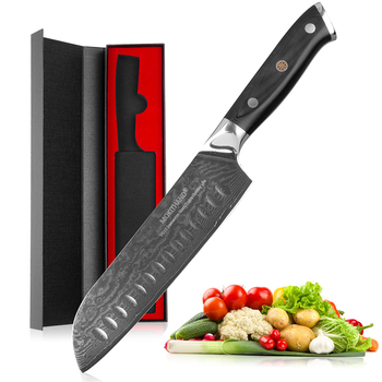 Mokithand 7 inch Damascus Santoku Knives Professional VG10 Japanese Kitchen Knife 67 layer Steel Chef Knife with G10 Handle