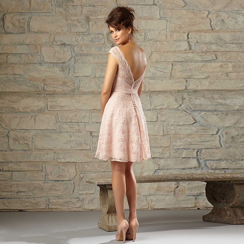 Demure Short Mother Of The Bride Dress Sheer Hollow Back