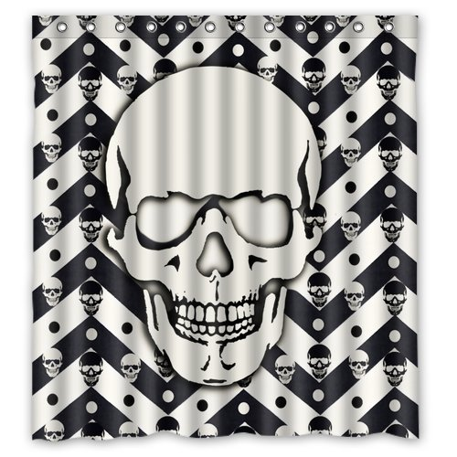 Black And White Cheron Skull Pattern Waterproof Poloyester Fabric Shower Curtain Size 66x 72