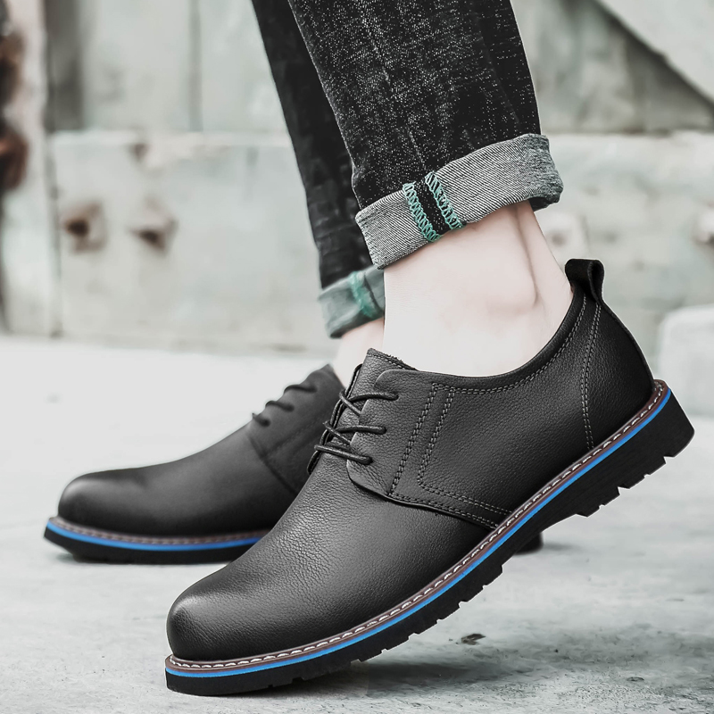 2019 new fashion men 39 s shoes casual genuine leather cow lace up shoe man big size 37 48 brown and black waterproof shoes for men in Men 39 s Casual Shoes from Shoes
