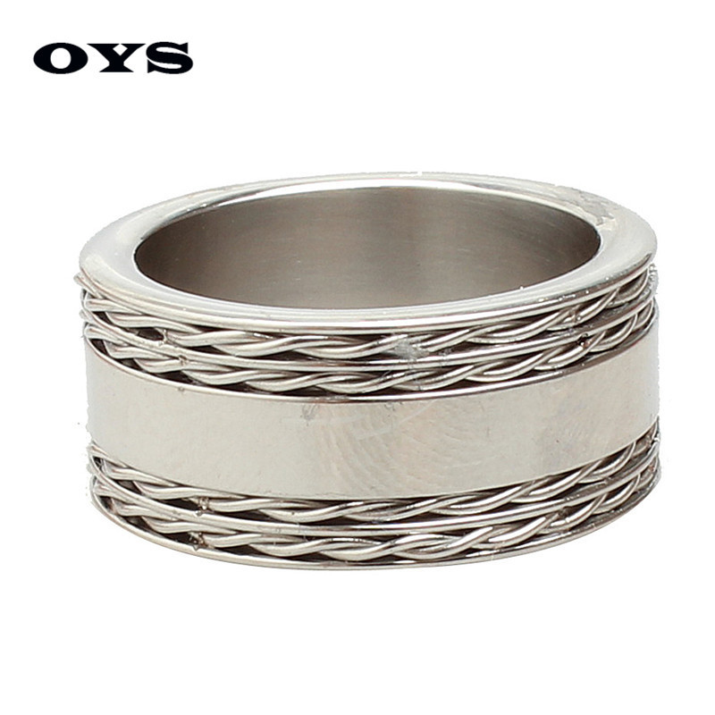 Cool 10mm Wide Retro Style Stainless Steel Mens Ring with Rope Pattern Silver Color Ring Free Shipping