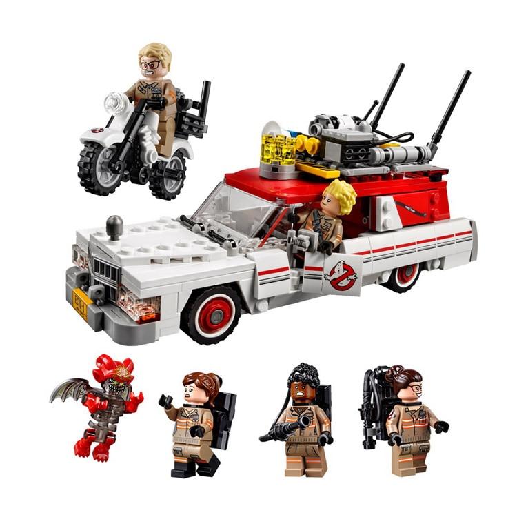 LEPIN 16032 New Genuine Movie Series The Ghostbusters Ecto-1&2 Set Building Blocks 586pcs Bricks Toys 75828 lepin 16032 586pcs new genuine movie series the ghostbusters ecto 1