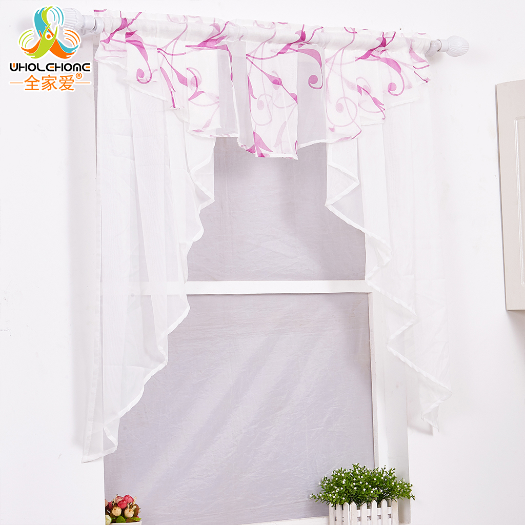 extraordinary cafe curtain living room   Voile Roman Curtain Window Treatment Pastoral Leaves Cafe ...