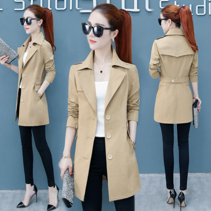 2019 New Women's Spring Autumn Coat Women Korean Thin Temperament Lapel   Trench   Coats V723