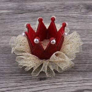 Image 3 - 30 teile/los 5 farben Newborn 3D Filz Kinder Crown + Mesh Blume Für Mädchen Haarschmuck Glitter Fühlte Krone Für ersten Geburtstag Hut
