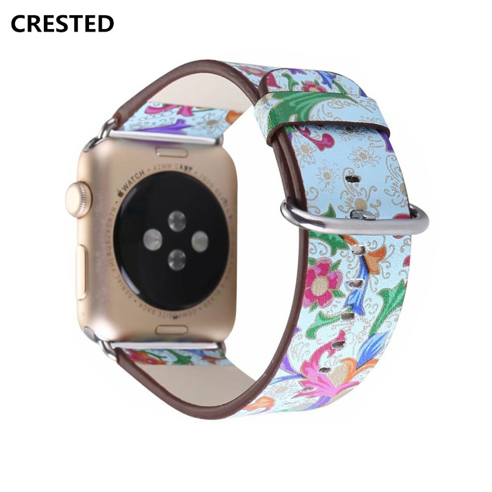 CRESTED leather strap For Apple Watch band 42mm 38mm iwatch series 3 2 1 Vintage Flower Print wrist bands bracelet straps belt crested crazy horse strap for apple watch band 42mm 38mm iwatch series 3 2 1 leather straps wrist bands watchband bracelet belt