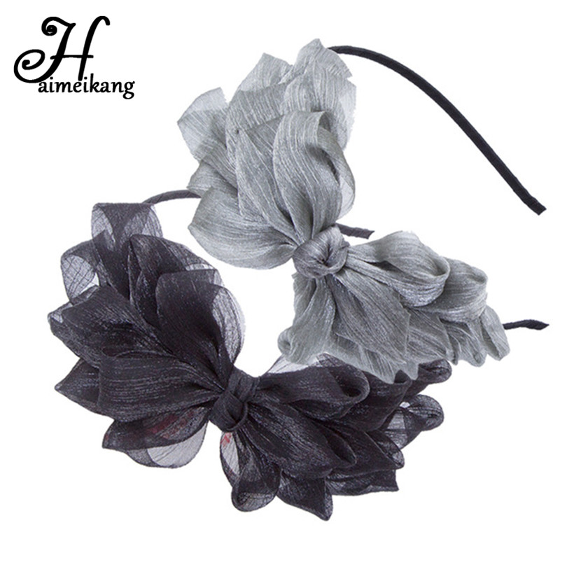 Haimeikang Vintage Lace Big Bow Hairbands Layers Veil Hair Hoop Headband Holder Hair Accessories Girls Cute   Headwear
