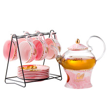 Brief Swan Infuser Glass Tea Pot Set Marble Insulated Glaze Ceramic Teapot Cup Set Chinese Kongfu Tea Flower Tea Maker Gift Box цена