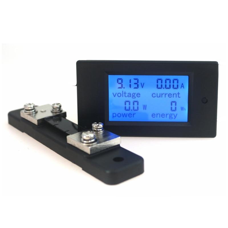 DC 6.5-100V 50A/100A Digital DC Voltmeter Ammeter LCD 4 In 1 DC Voltage Current Power Energy Meter Detector Amperimetro Shunt
