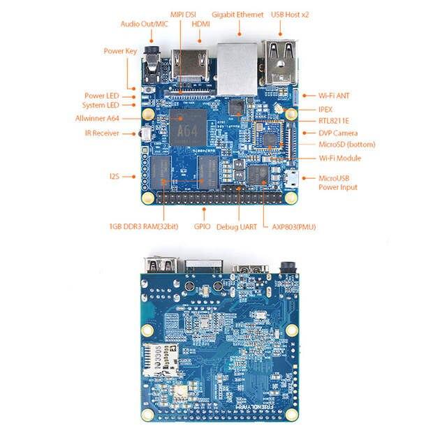 NanoPi A64 Allwinner A64,64 Bit High-performance,Quad-Core A53 Demo Board,  Running UbuntuCore & Ubuntu MATE