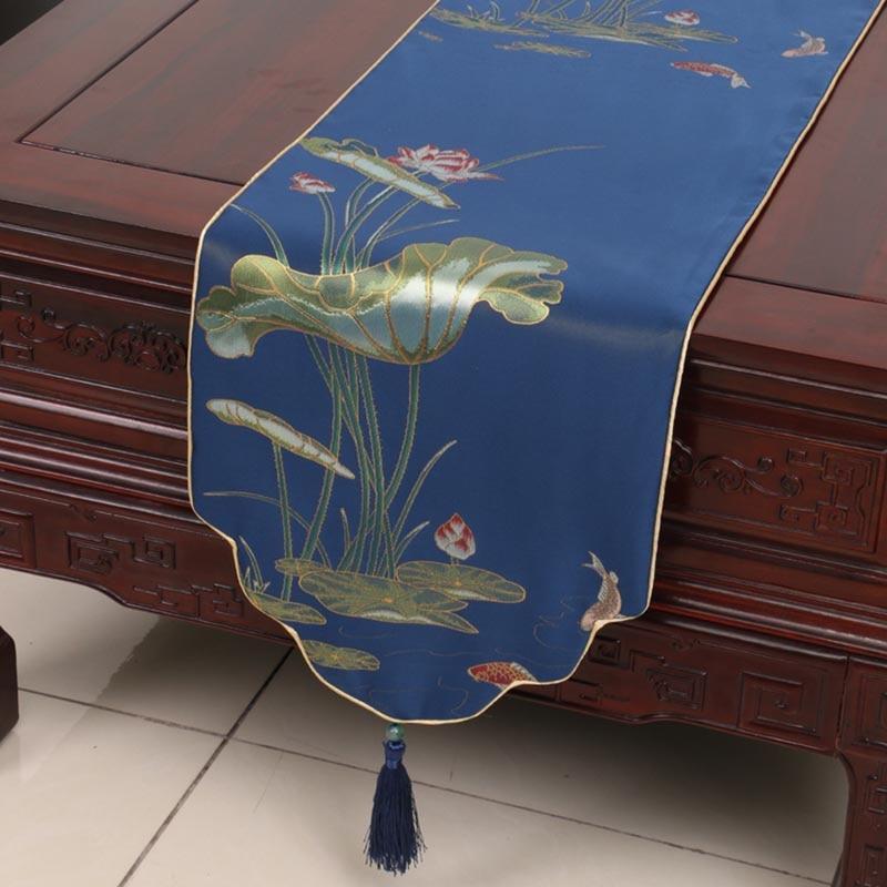 Classique chemin de Table lit drapeau Lotus motif Vintage Long Teaware tissu tapis Pad thé cérémonie accessoires artisanat décoration