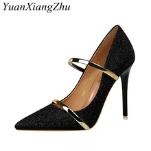 2019 New Arrival Sexy High Heel Shoes Women Pumps escarpins femme Sequined Cloth Pointed Toe Wedding Party Ladies Shoes For Heel цены онлайн