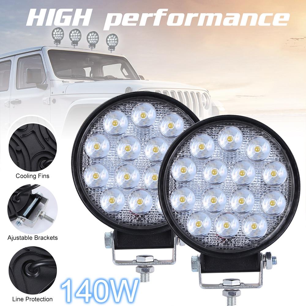 2pcs 140W 6000K 14000LM Circular Waterproof LED Work Light Car Headlight Bulbs For Off-Road Suv Boat 4X4 Jeep Truck Cars