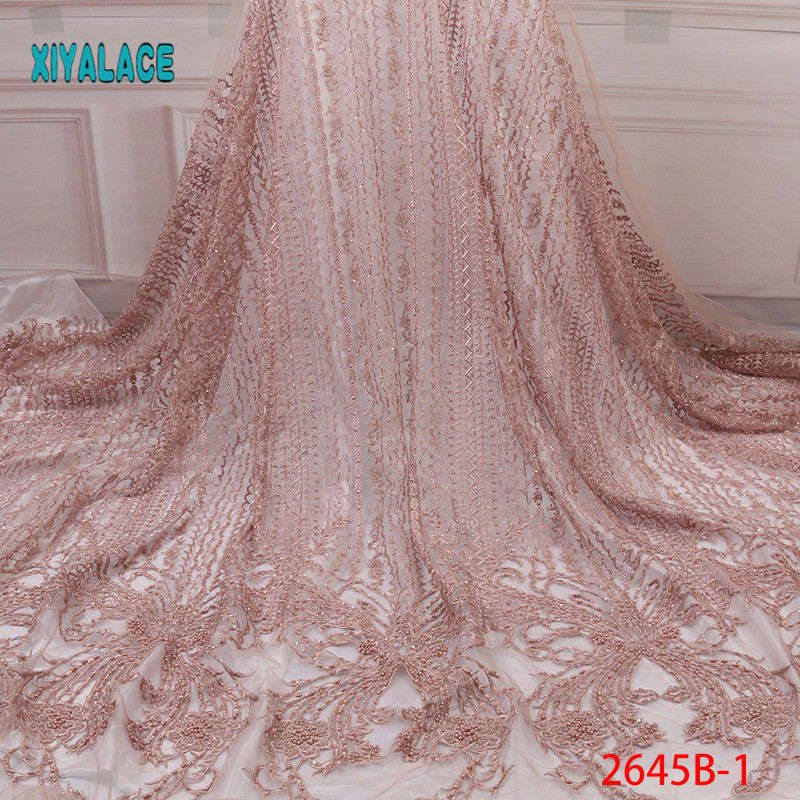 Handmade Lace Nigerian Beaded Lace Fabrics African French Lace Fabric 2019 High Quality Lace Tulle For Party Dress YA2645B-1