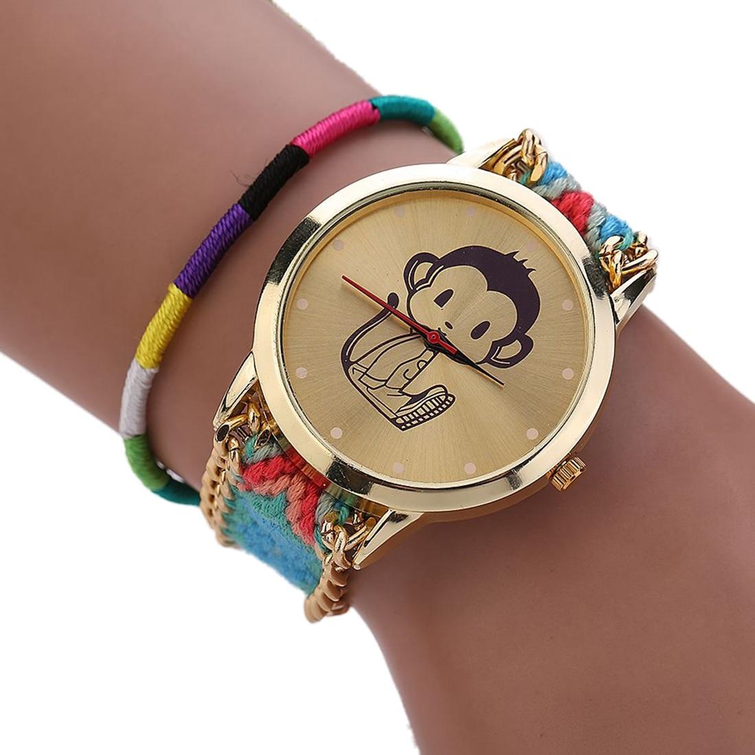 Quartz Watches Woman National Wind Weave Diy Little Monkey Bracelet Watch 3# Latest Fashion