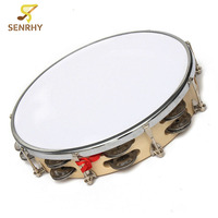 Senrhy New Polyester Leather Pandeiro Drum Tambourine Samba Brasil Wood Musical Percussion Instruments Gifts For Music