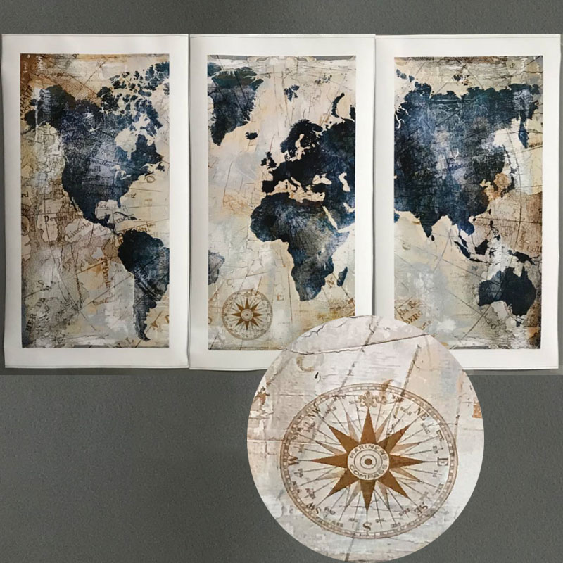 HTB1pZjPXVooBKNjSZPhq6A2CXXaO 3Panel Watercolor World Map Modular Painting Posters and Prints on Canvas Scandinavian Cuadros Wall Art Picture For Living Room