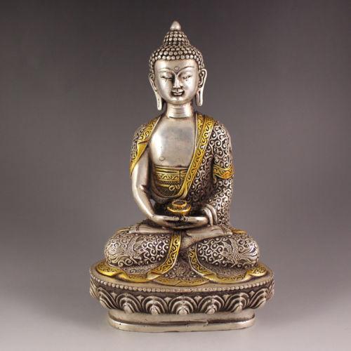 china Tibet Silver Copper Gilt Tibetan Buddhism Statue -- Sakyamuni Buddhachina Tibet Silver Copper Gilt Tibetan Buddhism Statue -- Sakyamuni Buddha