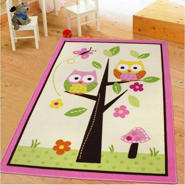 39 ''* 56'' haute qualité Nylon fil bébé chambre chevet tapis rose hibou Cartoon enfants tapis tapis pour salon enfants zone tapis