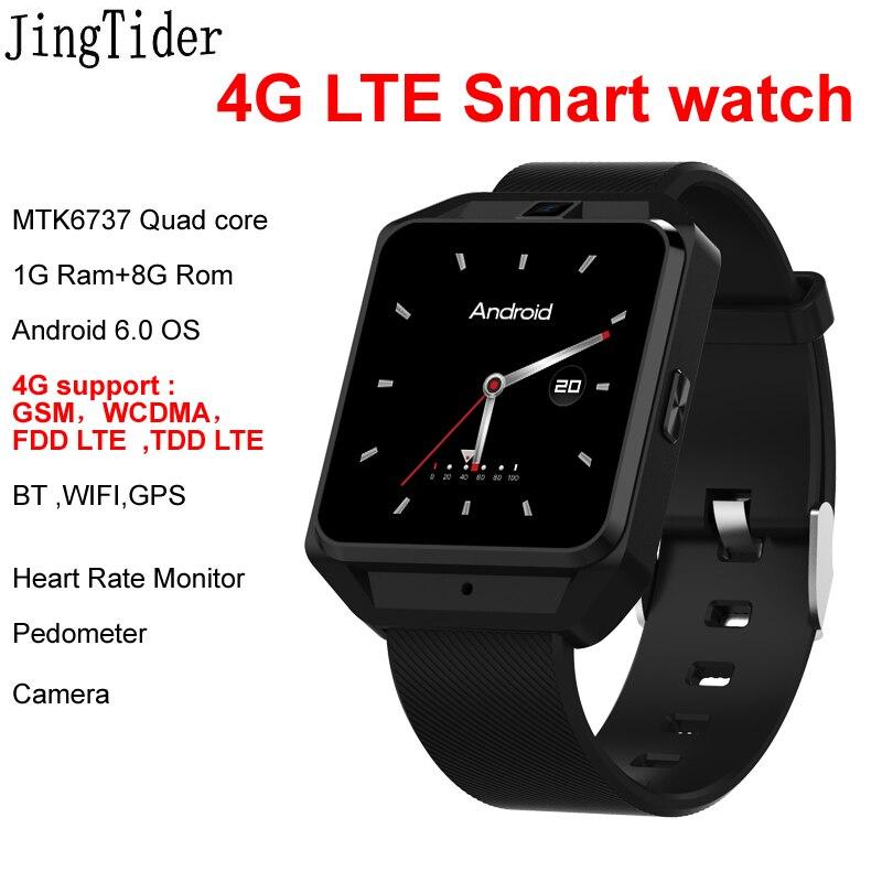 4G LTE JT3 Montre Smart Watch MTK6737 Quad core 1G Ram 8G Rom Android 6.0 Moniteur de Fréquence Cardiaque Montres Caméra SIM Carte WIFI BT GPS
