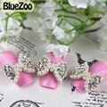 BlueZoo 10 unidades/pacote Strass Claras Com Pérolas Brancas Gravata Grande Arco 3D Liga Nail Art Decoração Dicas de Beleza Do Prego Do Parafuso Prisioneiro DIY ferramentas