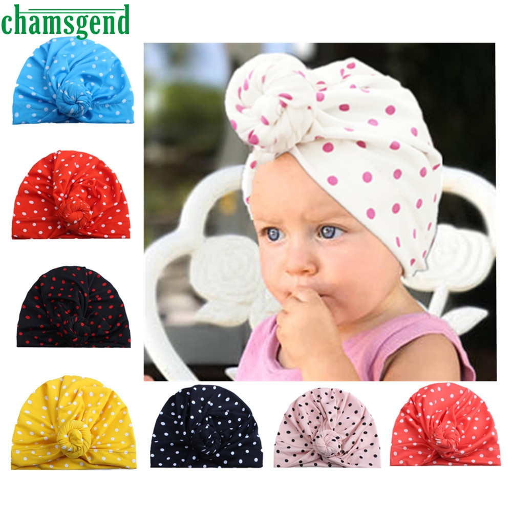 CHAMSGEND wave dot knotted Indian hat Cute Newborn Toddler Kids Baby Boy Girl Turban Cotton Beanie Hat Winter Warm Cap APR9