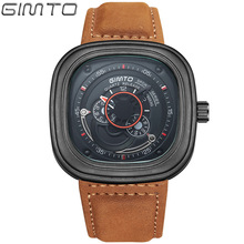 GIMTO Sport Watches for Men Square Quartz Wristwatch Mens Genuine Leather Mens Watches Top Brand Luxury Relogio Masculino GM207