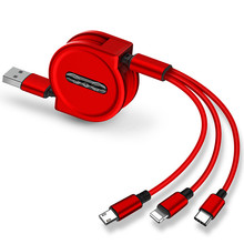 Cable de carga USB 3 en 1 de 120cm para iPhone, Cable Micro USB y USB C, Cable de carga portátil retráctil para Iphone X, 8, Samsung S9