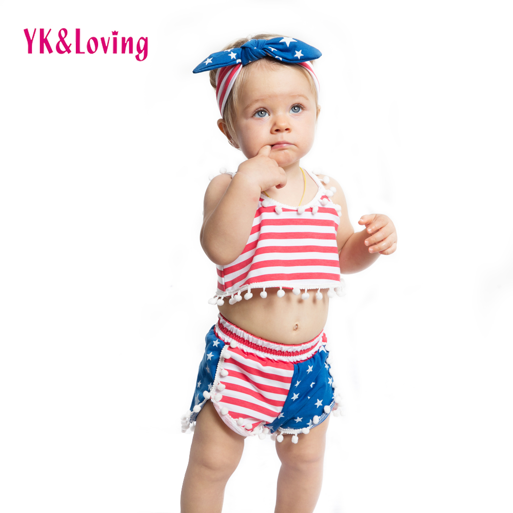 America Girls Clothes Sets 4. juli Rød / Blå Strips Børn Set Baby - Børnetøj - Foto 5